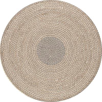 Draya Braided Jute Gray 6 ft. Round Rug