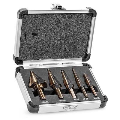 1/4 in. HSS Titanium Step Drill Bit Set with Storage Case (5-Piece)