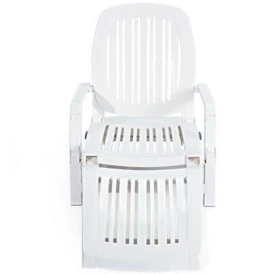 White Wheels Height Adjustable Plastic Outdoor Lounge Chair