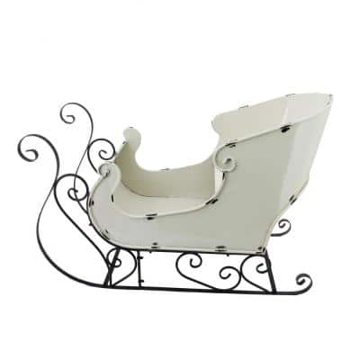 25.3 in. Tall Antique White Holiday Sleigh Decoration