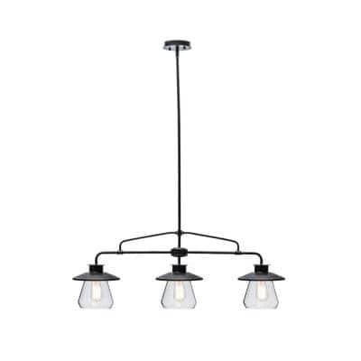 Nate 3-Light Oil Rubbed Bronze Pendant With Clear Glass Shades