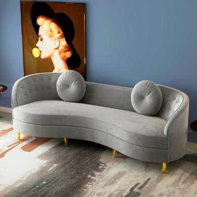 98.43 in. Gray Slope Arm Velvet Upholstered Curved Modern Rectangle 4-Seater Sofa with Gold Legs and Solid Wood Frame