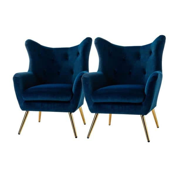 Jayden Creation Jacob Golden Leg Navy Wingback Chair With Tufted Back Set Of 2 Chdt0103 Navy S2 The Home Depot
