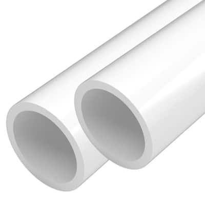 2 in. x 5 ft. Furniture Grade Schedule 40 PVC Pipe in White (2-Pack)