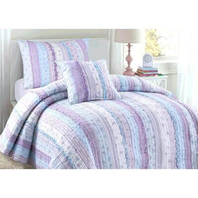 Lavender Orchid Flower Garden Ruffle Lace Stripe 3-Piece Shabby Chic Purple Blue Cotton Queen Quilt Bedding Set