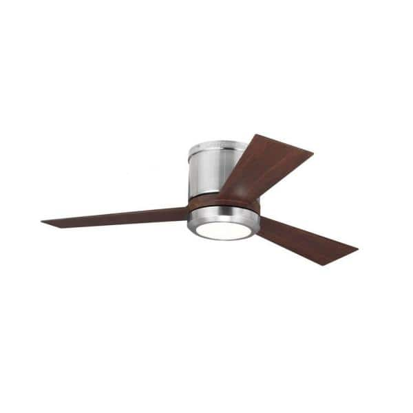 Monte Carlo Clarity Ii 42 In Integrated Led Brushed Steel Flush Mount Ceiling Fan With Teak Blades And Remote Control 3clyr42bsd V1 The Home Depot