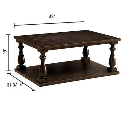 Luann 48 in. Dark Walnut Large Rectangle Wood Coffee Table