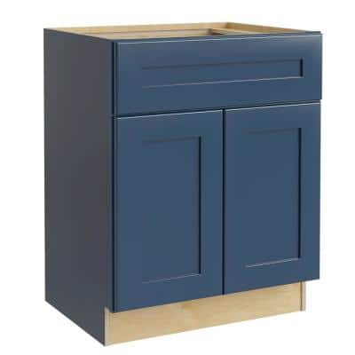 Neptune Blue Painted Plywood Shaker Stock Assembled Bath Kitchen Cabinet Vanity Sink Base Doors 27 in. 34.5 in. x 21 in.