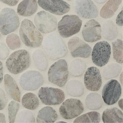 Puebla Greige Pebble 11.42 in. x 11.42 in. x 10mm Polished Marble Mesh-Mounted Mosaic Tile (9.1 sq. ft./Case)