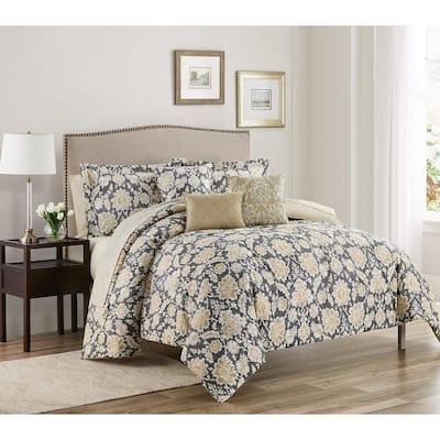 Alexandra 10-Piece Brown Microfiber Comforter King Bed in a Bag Set