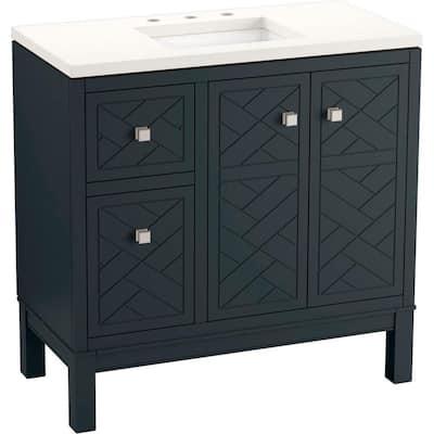 Beauxline 36.25 in. W x 18.0625 in. D x 35.625 in. H Bathroom Vanity in Slate Grey with Quartz Top