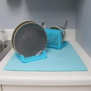 3-Section Turquoise Dish Rack with Mat