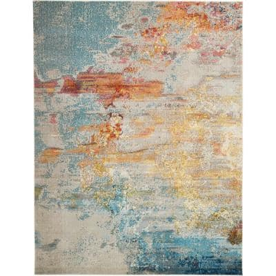 Celestial Sealife Multicolor 3 ft. x 5 ft. Abstract Modern Area Rug