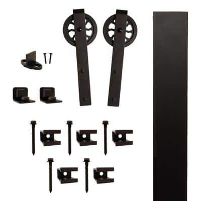 Hook Strap Black Rolling Barn Door Hardware Kit with 5 in. Wheel