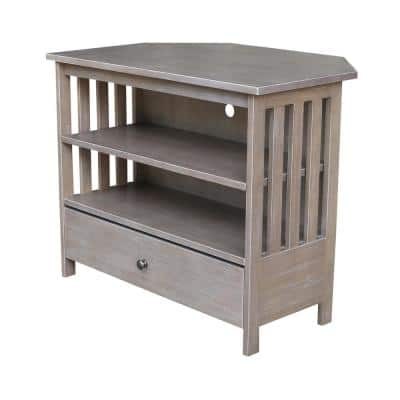 Mission 36 in. Weathered Taupe Gray Wood Corner TV Stand with 1 Drawer Fits TVs Up to 36 in. with Cable Management