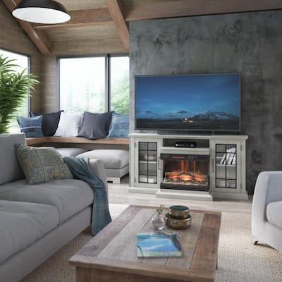 60 in. Media Mantel Electric Fireplace in Omni-Fairfax Oak White Panorama Fireplace