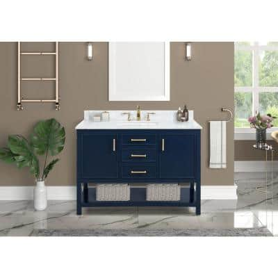 Uptown 48 in. W x 22 in. D x 34.75 in. H Bath Vanity in Navy Blue with Marble Vanity Top in White with White Basin