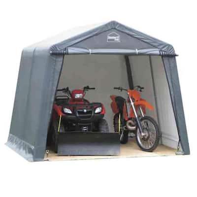 12 ft. W x 10 ft. D x 8 ft. H Steel Frame Polyethylene Instant Garage/Shed without Floor