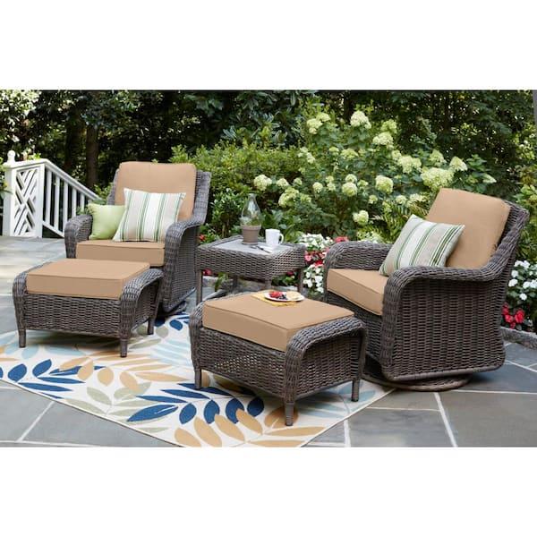 Hampton Bay Cambridge Gray Wicker, Outdoor Patio Furniture With Glider Chairs