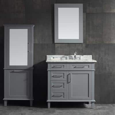 Sonoma 36 in. W x 22 in. D Bath Vanity in Pebble Grey with Carrara Marble Top with White Sinks