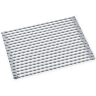 Kore Workstation 16.9 in. Multipurpose Over Sink Roll-Up Dish Drying Rack in Light Grey