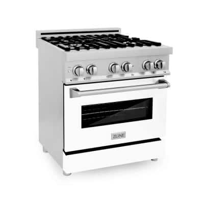 ZLINE 30 in. 4.0 cu. ft. Dual Fuel Range with Gas Stove and Electric Oven in Stainless Steel and White Matte Door