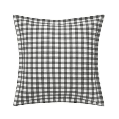 Kingston 1-Piece Charcoal Gray Plaid Cotton European Sham