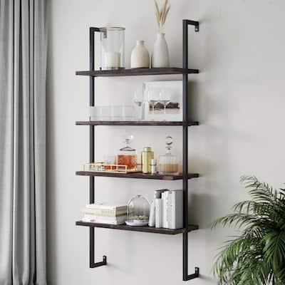 Theo Nutmeg Brown 4-Shelf Wood 64 in. Black Pipe Metal Frame Floating Wall Mount Shelves Bookcase