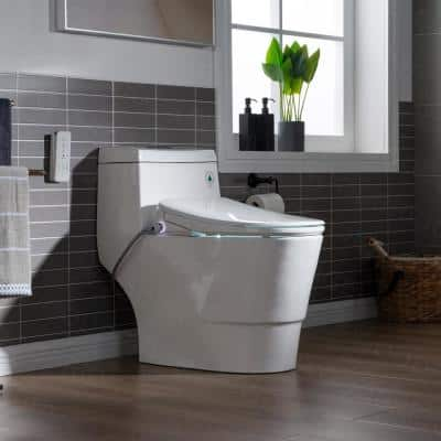 Marsala I 1-Piece 1.1GPF/1.6 GPF Dual Flush Elongated Toilet with Advance Smart Washlet Bidet in White