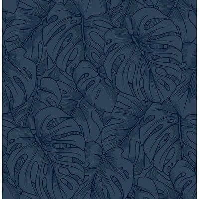 Balboa Indigo Botanical Indigo Wallpaper Sample