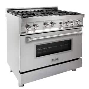 36 in. 4.6 cu. ft. Gas Range with Convection Gas Oven in Stainless Steel with DuraSnow Finish Door