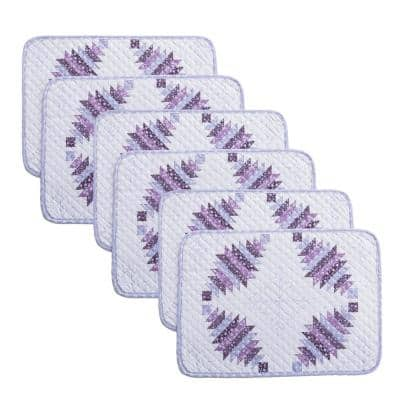 Cathedral Window 19 in. x 13 in. Plum Quilted Microfiber Placemat (Set of 6)