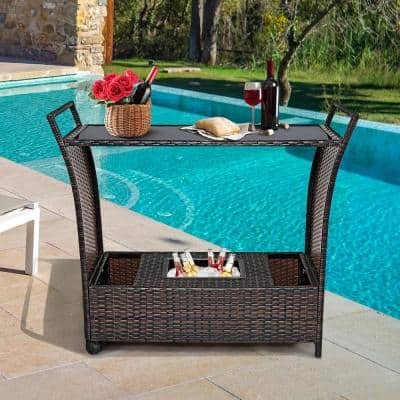 Patio Metal Outdoor Bar with Accessory