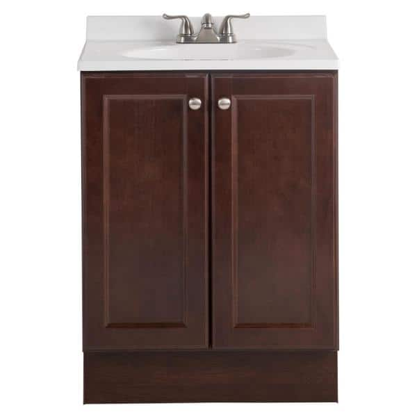 Glacier Bay Vanity Pro All In One 24 In W Bathroom Vanity In Chestnut With Cultured Marble Vanity Top In White Vp24p5 Cn The Home Depot