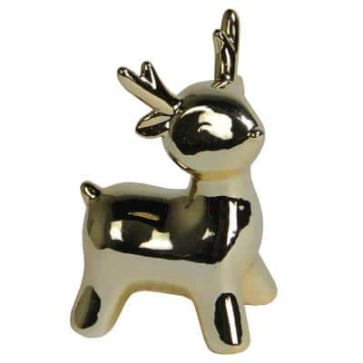 5.75 in. Small Ceramic Christmas Deer Decoration, Gold