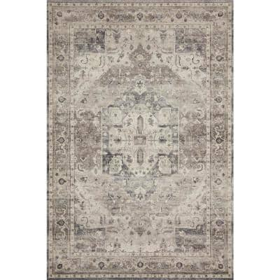 Hathaway Steel/Ivory 9 ft. x 12 ft. Traditional 100% Polyester Pile Area Rug