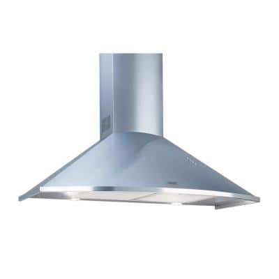 Trapezoidal Wall Mount 36 in. with Timer LED lights 600 CFM Ducted Downdraft Range Hood in Stainless