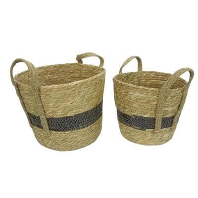 Set of 2 Nesting Basket Seagrass Design for Blankets Toys with Handle Storage Bins. Natural Color with Black Tone