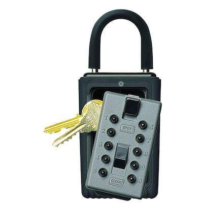 Portable 3-Key Lock Box with Pushbutton Combination Lock, Titanium