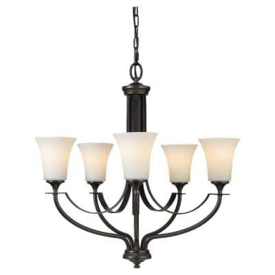 Barrington 5-Light Oil Rubbed Bronze Traditional Transitional Hanging Chandelier with Opal Etched Glass Shades