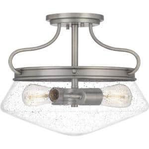 Tucker 2-Light Antique Nickel Semi-Flush Mount