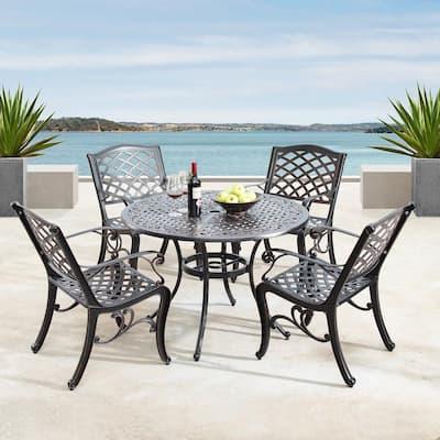 Luxurious Ornate Antique Copper 5-Piece Aluminium Round Outdoor Dining Set