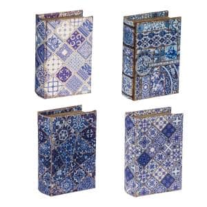 Blue/White Book Boxes (Set of 4)