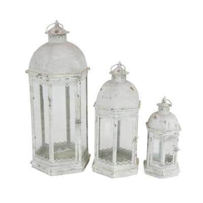 White Metal Rustic Candle Lantern (Set of 3)