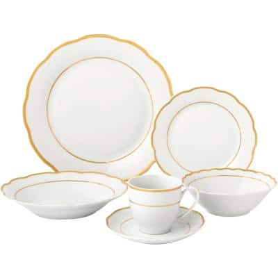 24-Piece Gold Wavy Dinnerware-Porcelain-Srvice for 4-Gloria