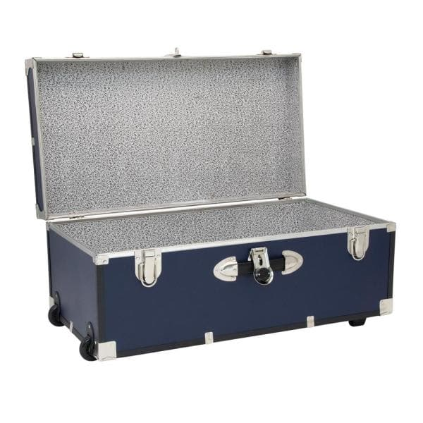 Seward Trunk - Seward Rover 30 in. Blue Trunk with Wheels and Lock, 12.25 in H x 15.75 in D, Engineered wood