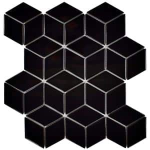 Metro Rhombus Glossy Black 10-1/2 in. x 12-1/8 in. x 5 mm Porcelain Mosaic Tile (9.04 sq. ft. / case)