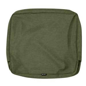 Montlake Water-Resistant 21 in. x 20 in. x 4 in. Patio Back Cushion Slip Cover, Heather Fern Green