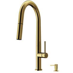 Greenwich Single-Handle Pull-Down Sprayer Kitchen Faucet with Bolton Soap Dispenser in Matte Brushed Gold