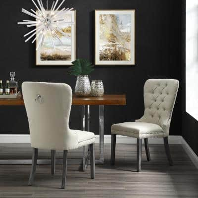 Nevaeh Cream White Linen Ring Handle Nailhead Dining Chair (Set of 2)